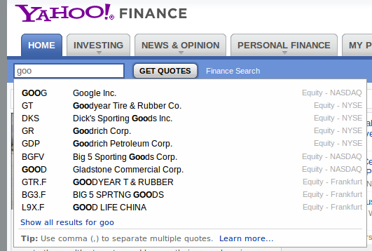 Getting the Google label from Yahoo Finance